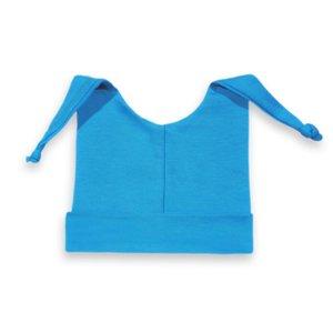Baby mutsje met knoopjes turquoise 50-56