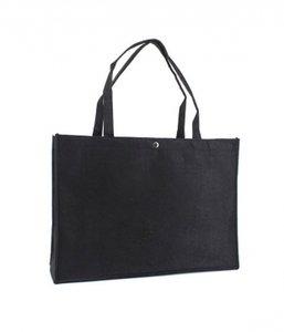 Vilten tas zwart met drukknoop