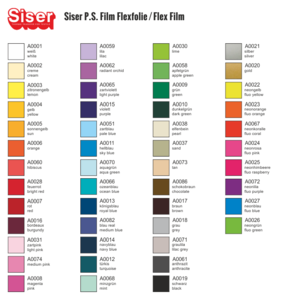 Siser flex pakket 50 kleuren 30x50cm