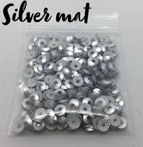 Silver mat hotfix pailletten 4mm