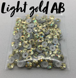 Light gold AB hotfix pailletten 3mm