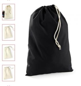 cotton stuff bag black (in 6 maten)